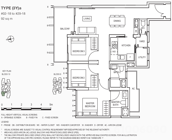 The Midwood Floor Plan . 3 Bedroom Showflat Type