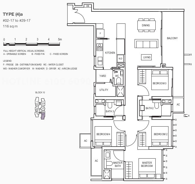 Floor Plan . 4 Bedroom Showflat Type