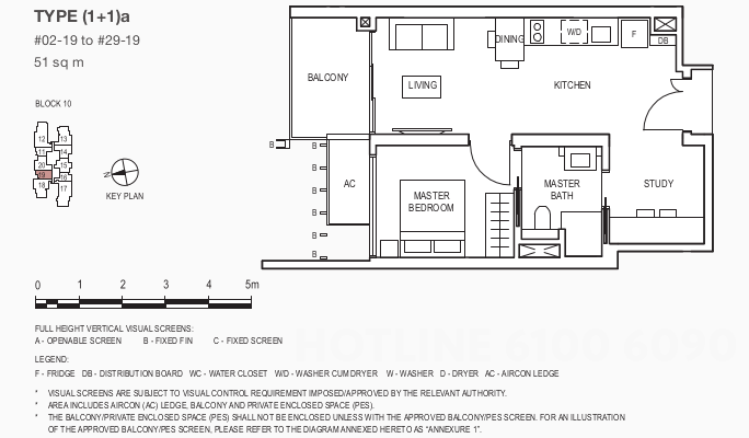 The Midwood Floor Plans . 1BR + Study Showflat Type