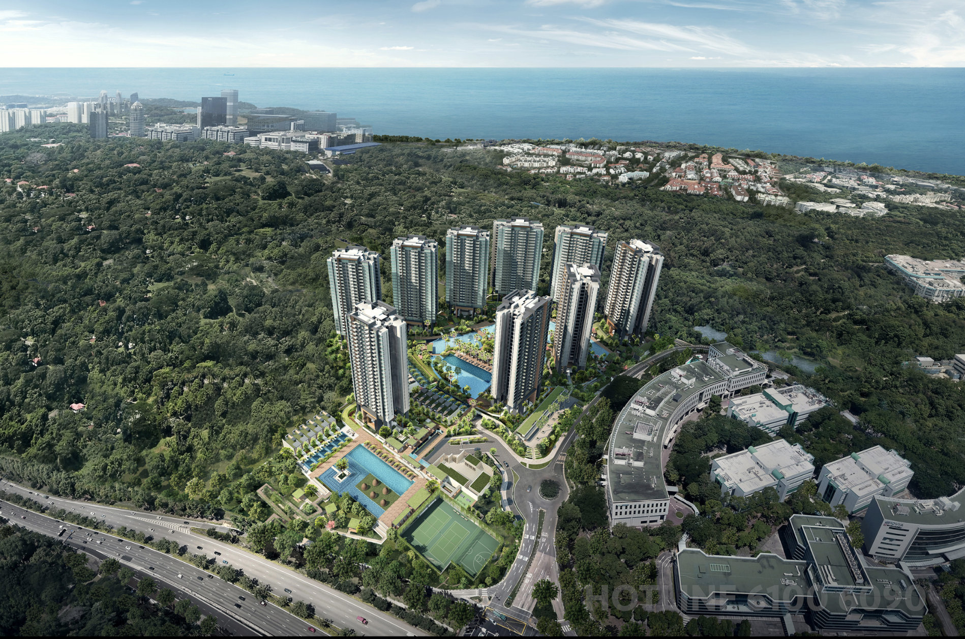 The Normanton Park Condominium at Kent Ridge Hill . View of Project South-Eastwards
