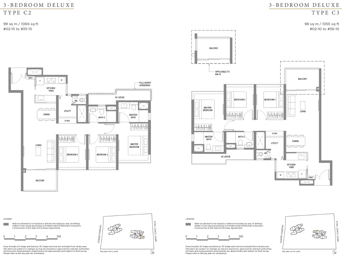 Twin VEW Condo Floor Plan 3 Bedroom Types C2 & C3