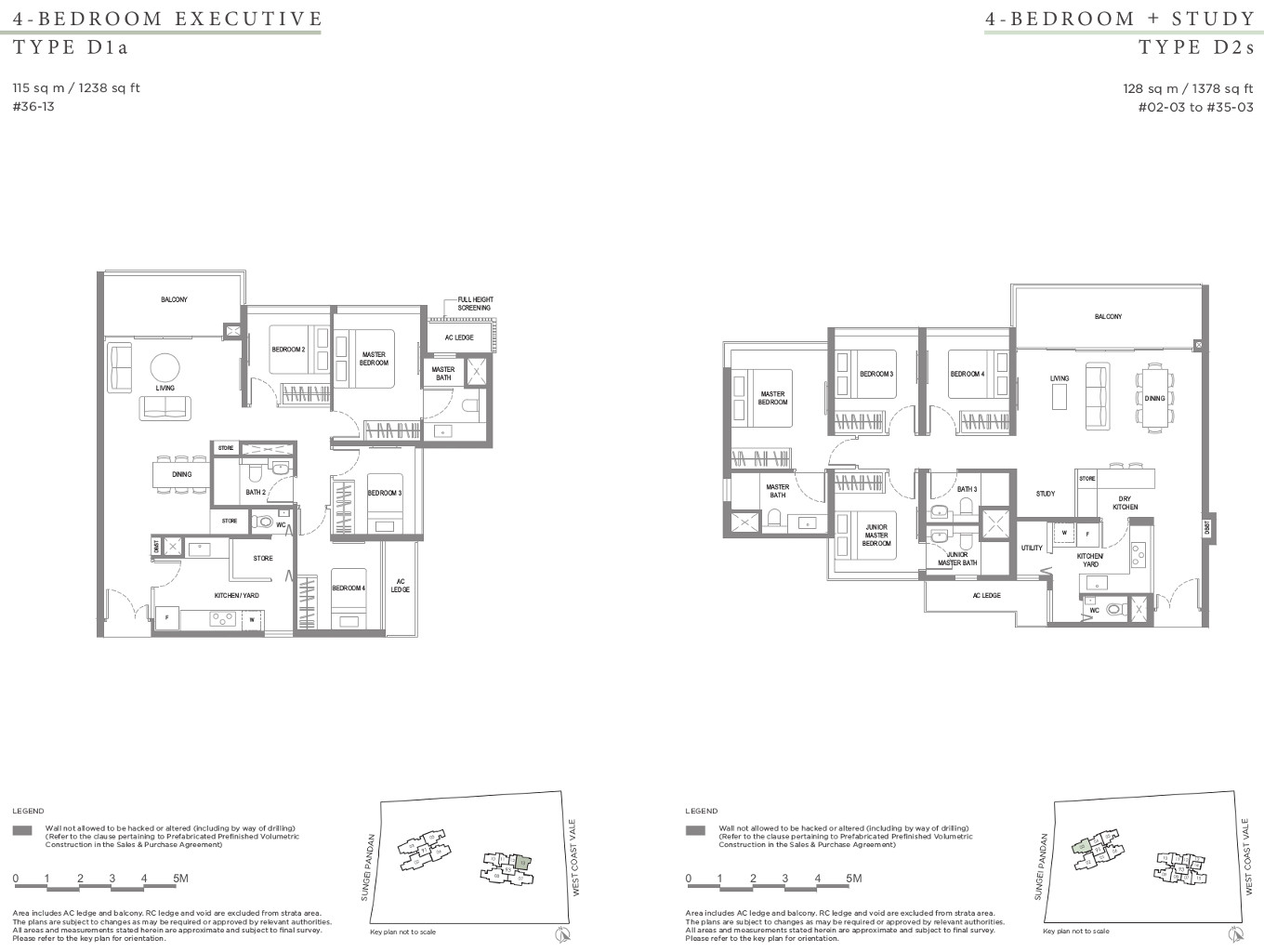 Twin VEW Condo Floor Plan 4 Bedroom Types D1a & D2s