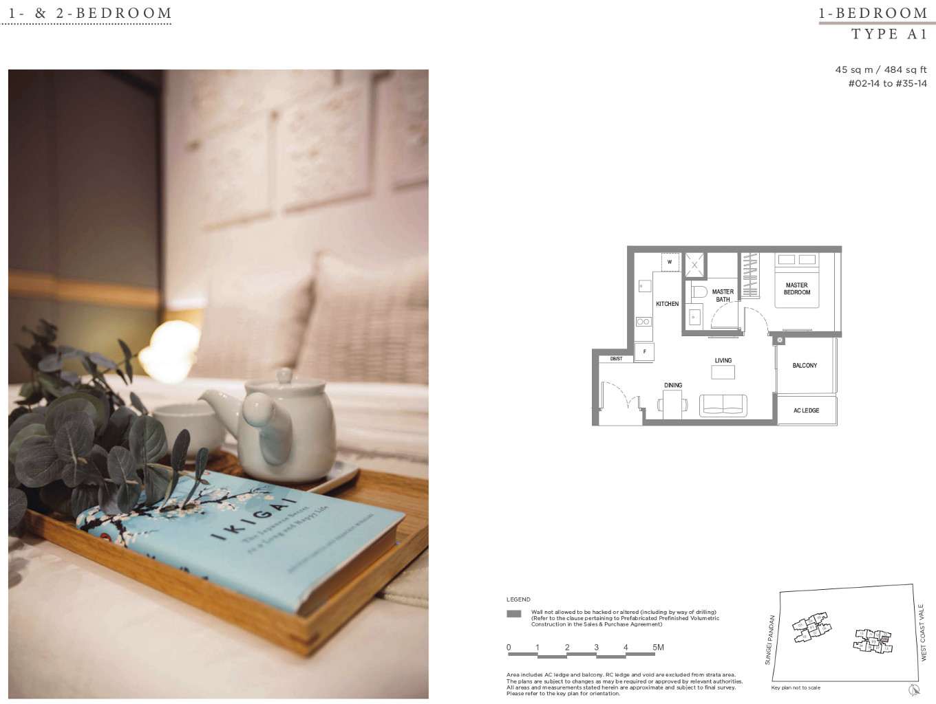 Twin VEW Floor Plan 1 Bedroom Type A1