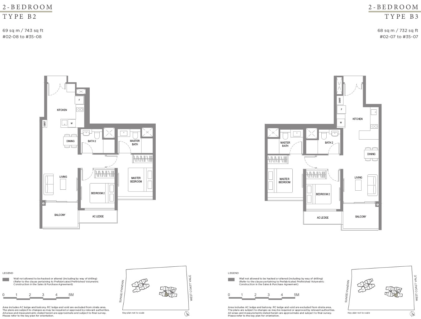 Twin VEW Floor Plan 2 Bedroom Types B2 & B3