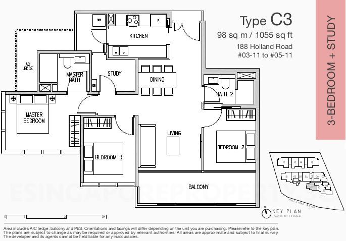 Van Holland Condo Floor Plan . 3 Bedroom + Study Type C3