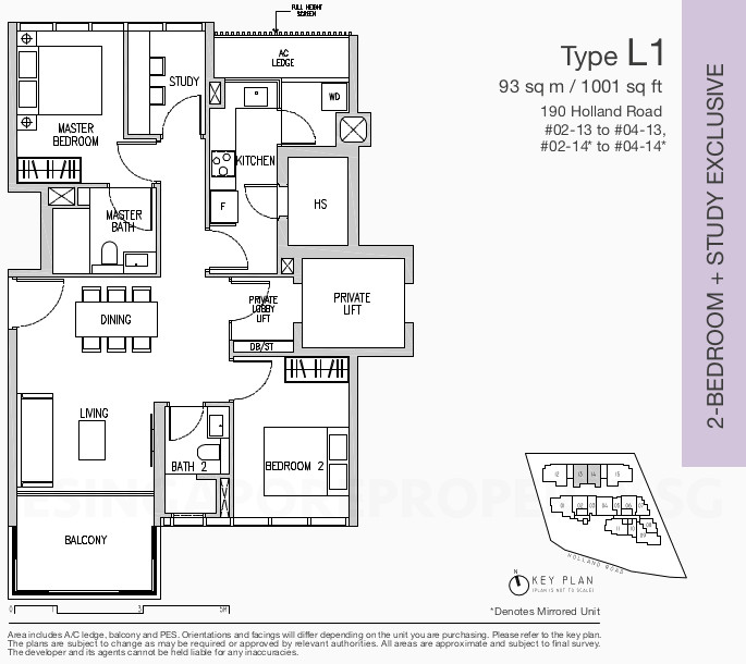 Van Holland Condo Floor Plans . 2 Bedroom + Study Exclusive Type L1