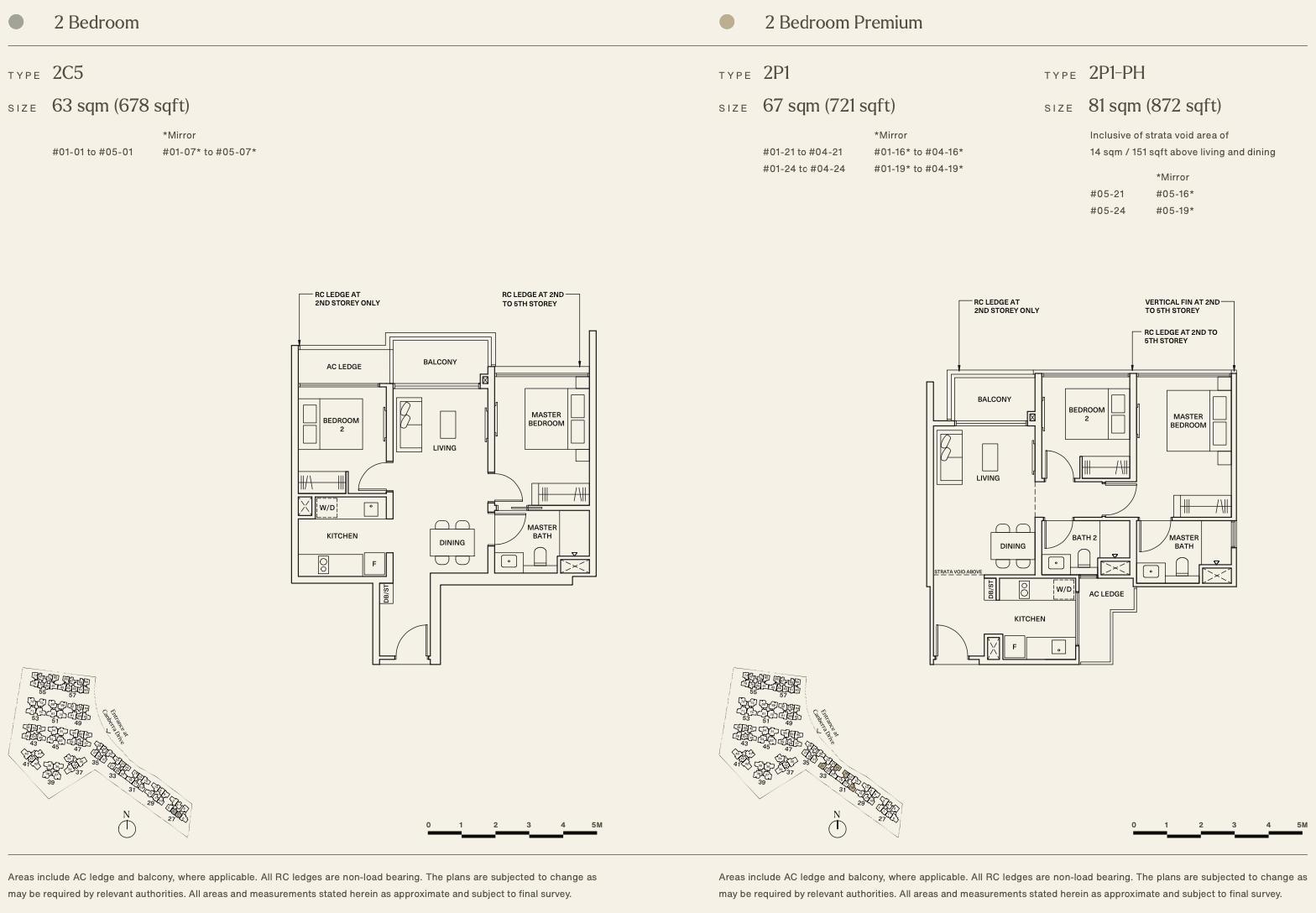 Watergardens Condo Floor Plans . 2 Bedroom Type 2C5 and 2P1