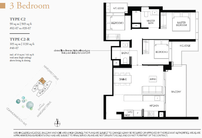 Margaret Ville Condo Floor Plan Type C2 3 Bedroom