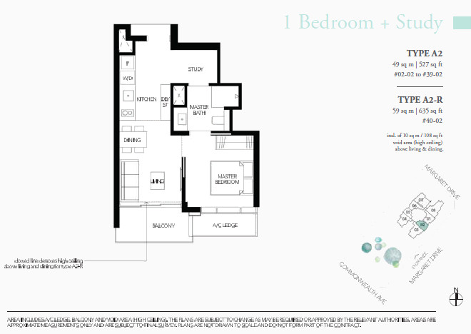 Margaret Ville Floor Plan Type A2 1 Bedroom + Study