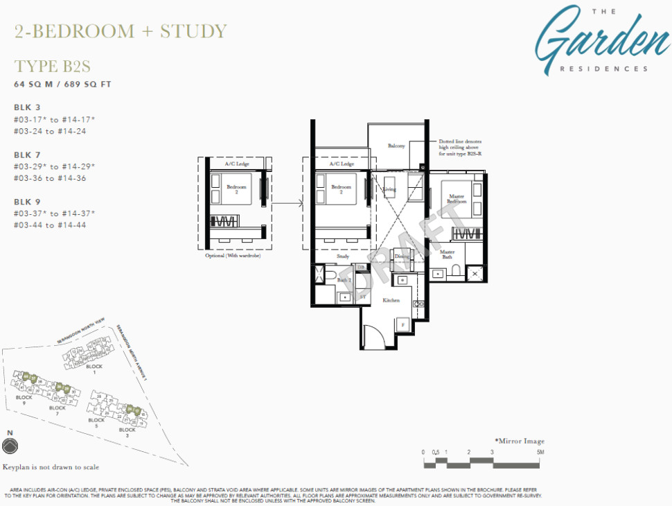 The Garden Condo Floor Plans 2BR + Study Type B2S