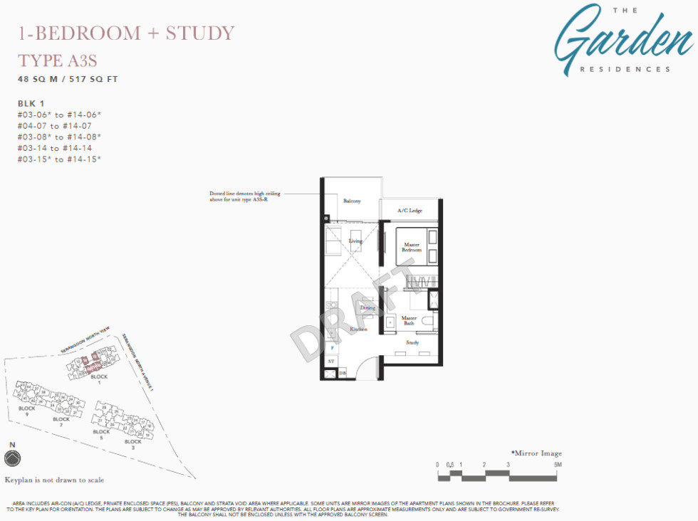 The Garden Residences Floor Plan 1BR + Study Type A3S
