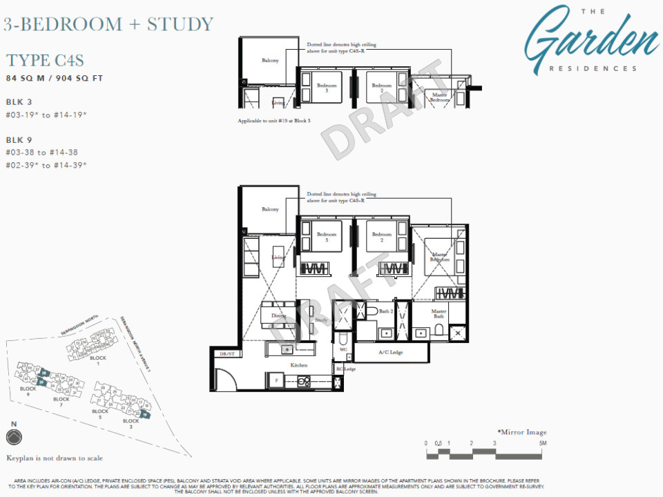 The Garden Residences Floor Plans 3BR + Study Type C4S