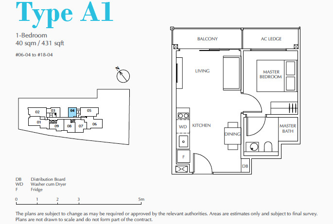 Jui Residences Floor Plan . One Bedroom Type A1