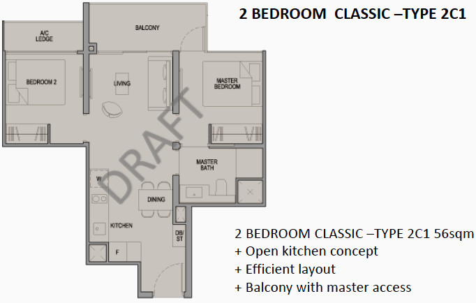 Park Colonial Condo Floor Plan 2BR Classic Type 2C1