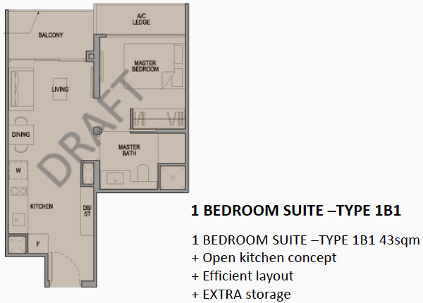 Park Colonial Floor Plan 1BR Type 1B1
