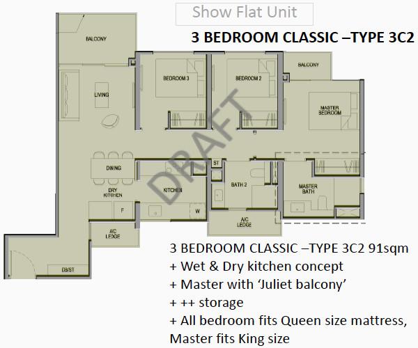 Park Colonial Floor Plans 3BR Classic Type 3C2