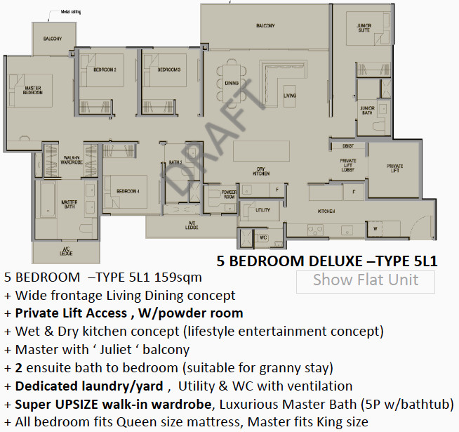 Park Colonial Singapore Floor Plan 5BR Deluxe Type 5L1