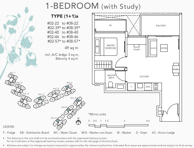 The Jovell Showflat Floor Plan . 1Bedroom +Study Type (1+1)a