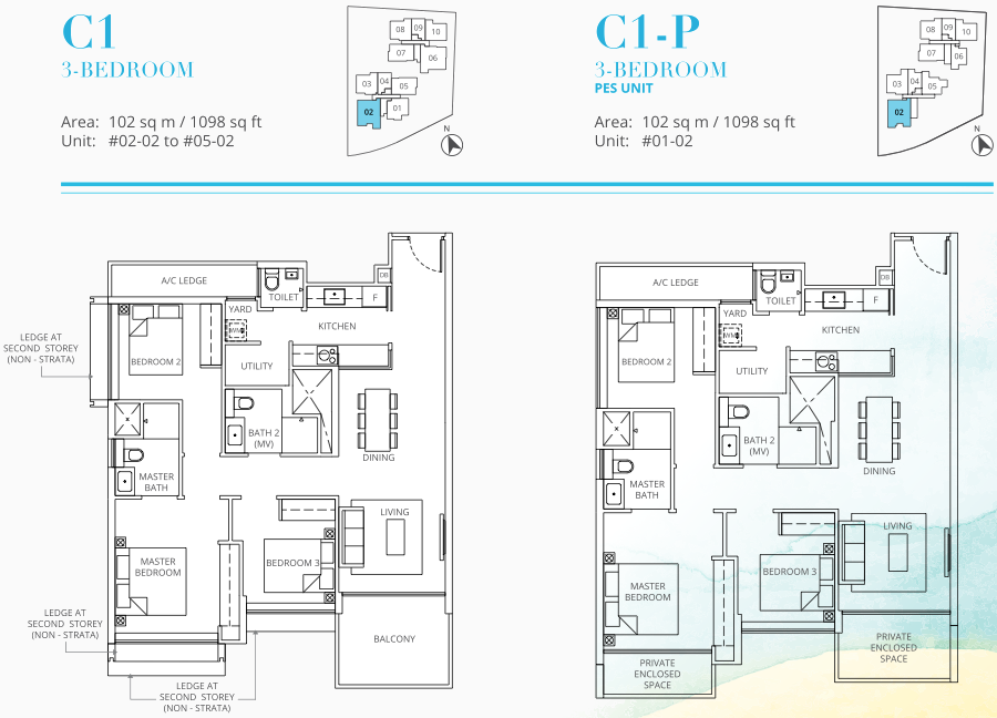 Casa Al Mare Condo Floor Plan . 3 Bedroom Type C1