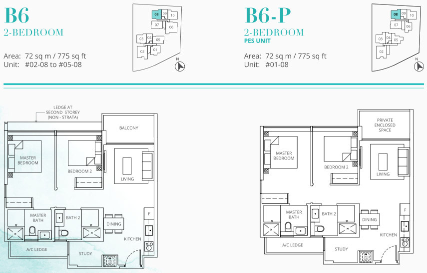Casa Al Mare Floor Plan . 2 Bedroom Type B6