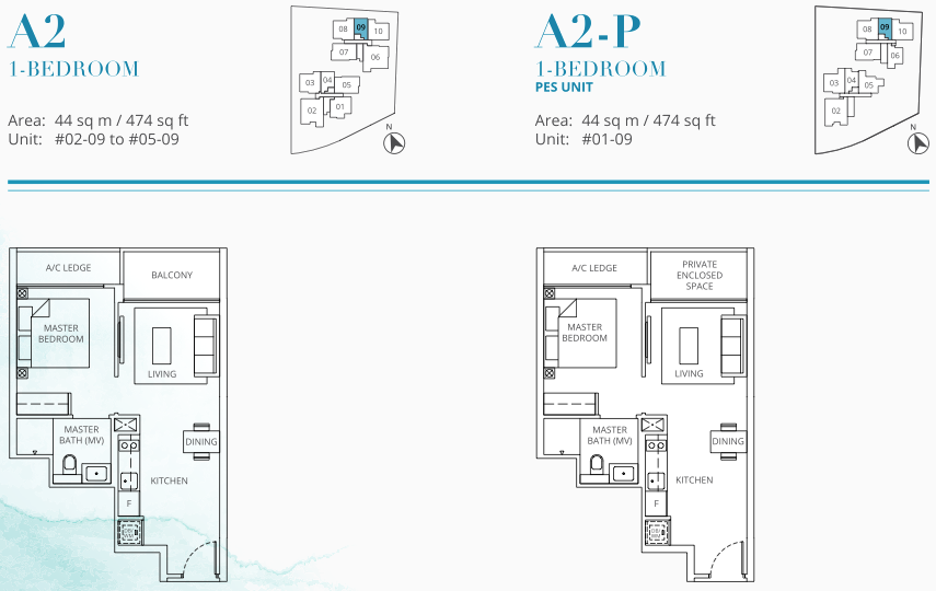 Casa Al Mare Floor Plans . 1 Bedroom Type A2