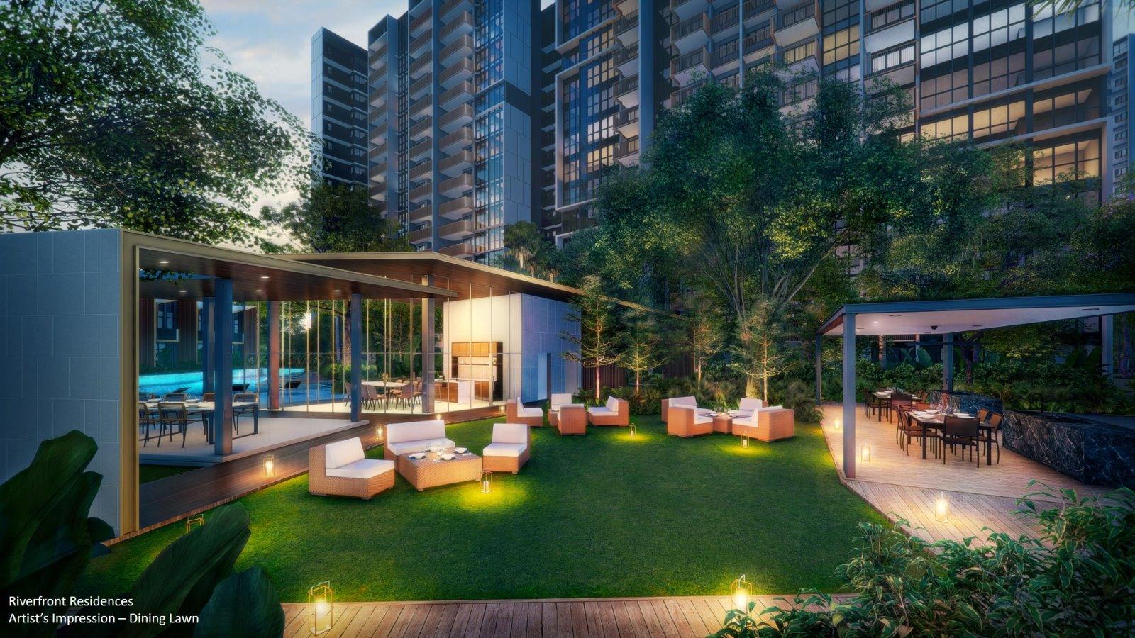 Riverfront Showflat Singapore Dining Lawn