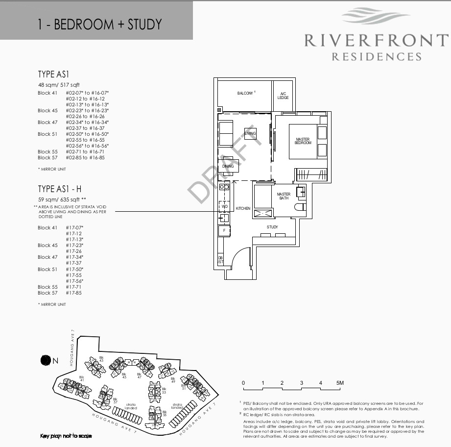 Riverfront Residences Floor Plan 1 Bedroom + Study