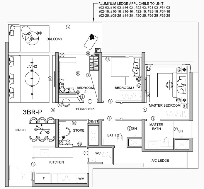 Stirling Residence Showflat Floor Plan . 3 Bedroom Premium