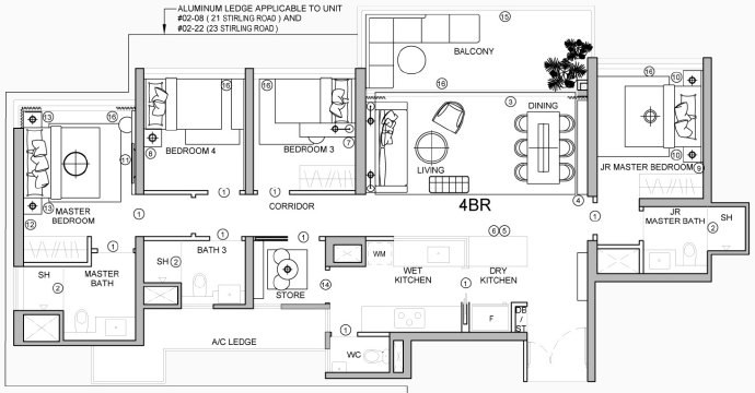Stirling Residences Floor Plan . 4 Bedroom