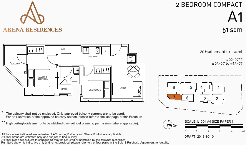 Arena Residences Floor Plan . 2Bedroom Type A1