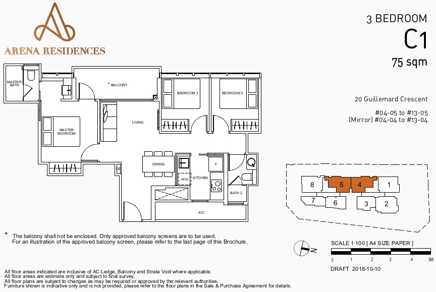 Arena Residences Floor Plan . 3 Bedroom Type C1