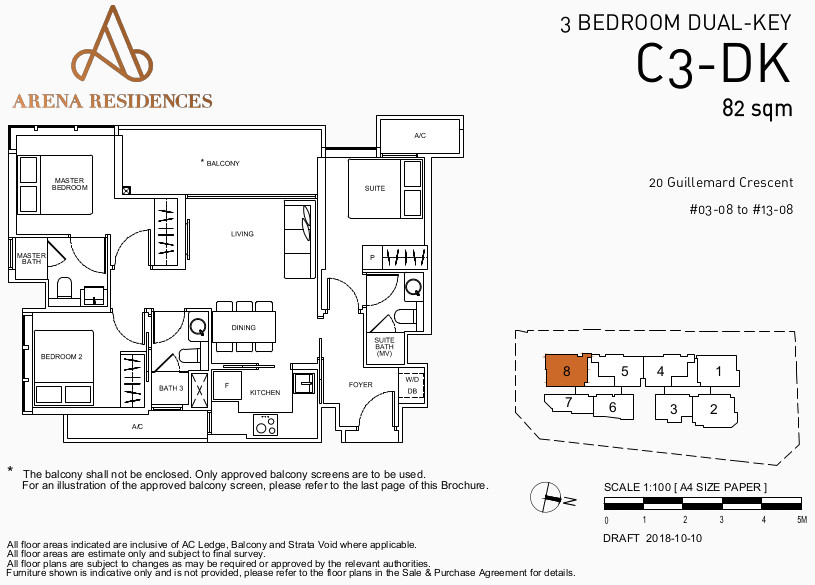 Arena Residences Floor Plans . 3 Bedroom Dual Key Type C3-DK