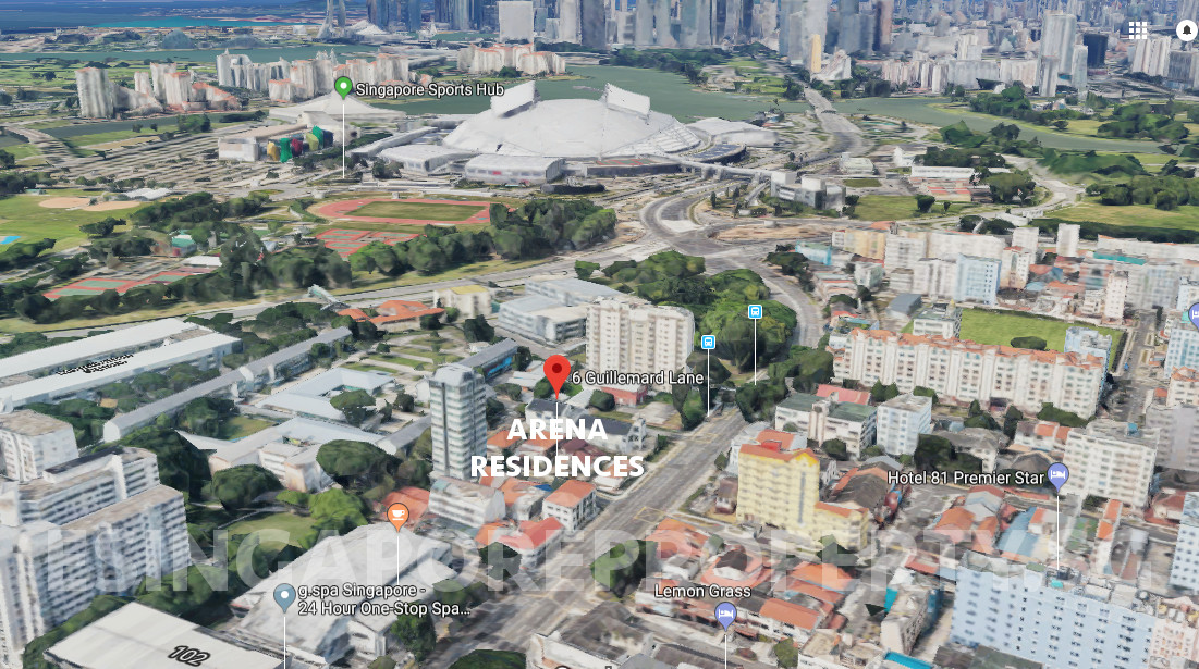 Arena Residences Location . Sports Hub & Marina Bay in Background