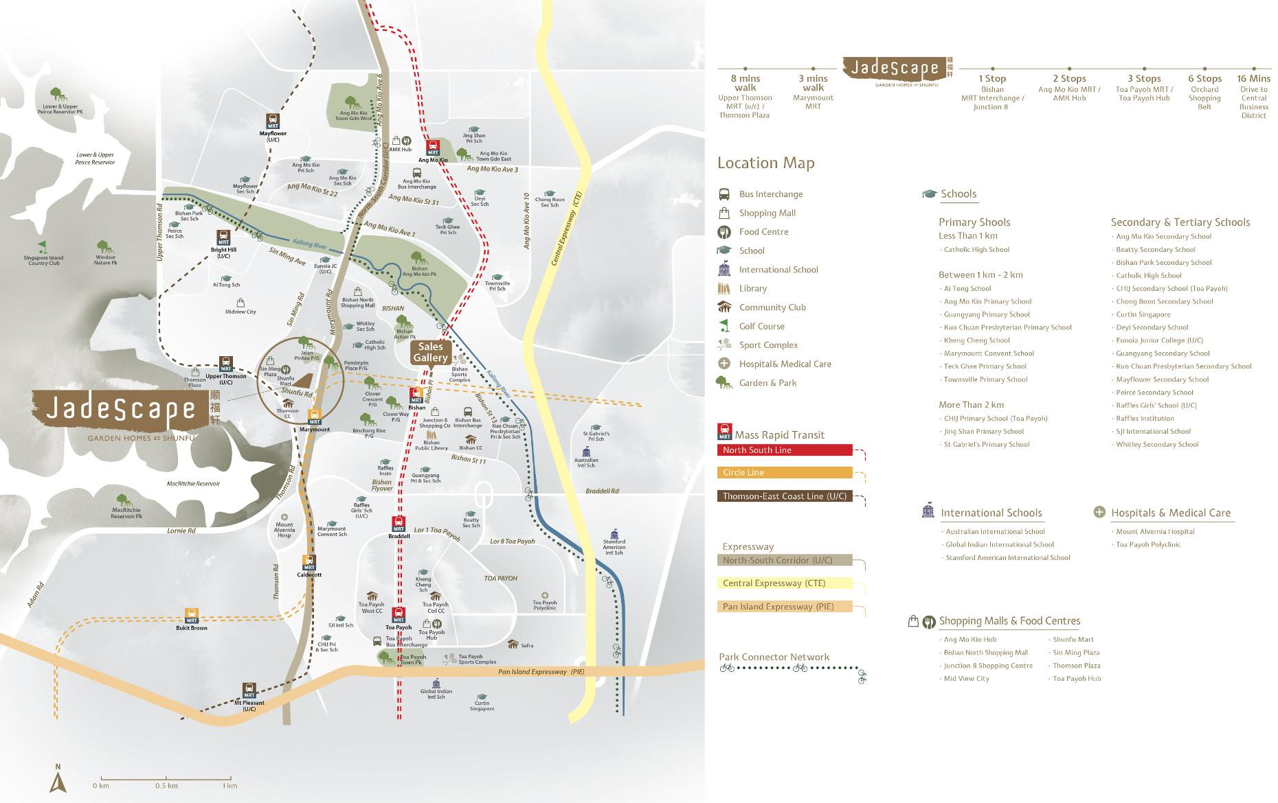 JadeScape Condo Location Map . Amenities & Distances