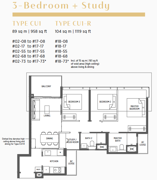 Parc Esta Condo Floor Plan . 3 Bedroom + Study Type CU1