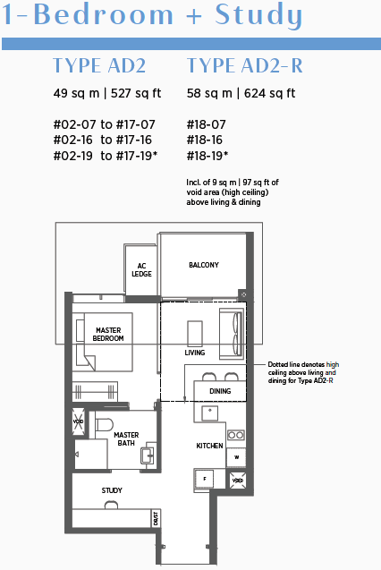 Parc Esta Floor Plan . 1 Bedroom + Study Type AD2