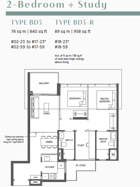 Parc Esta Floor Plans . 2 Bedroom + Study Type BD3