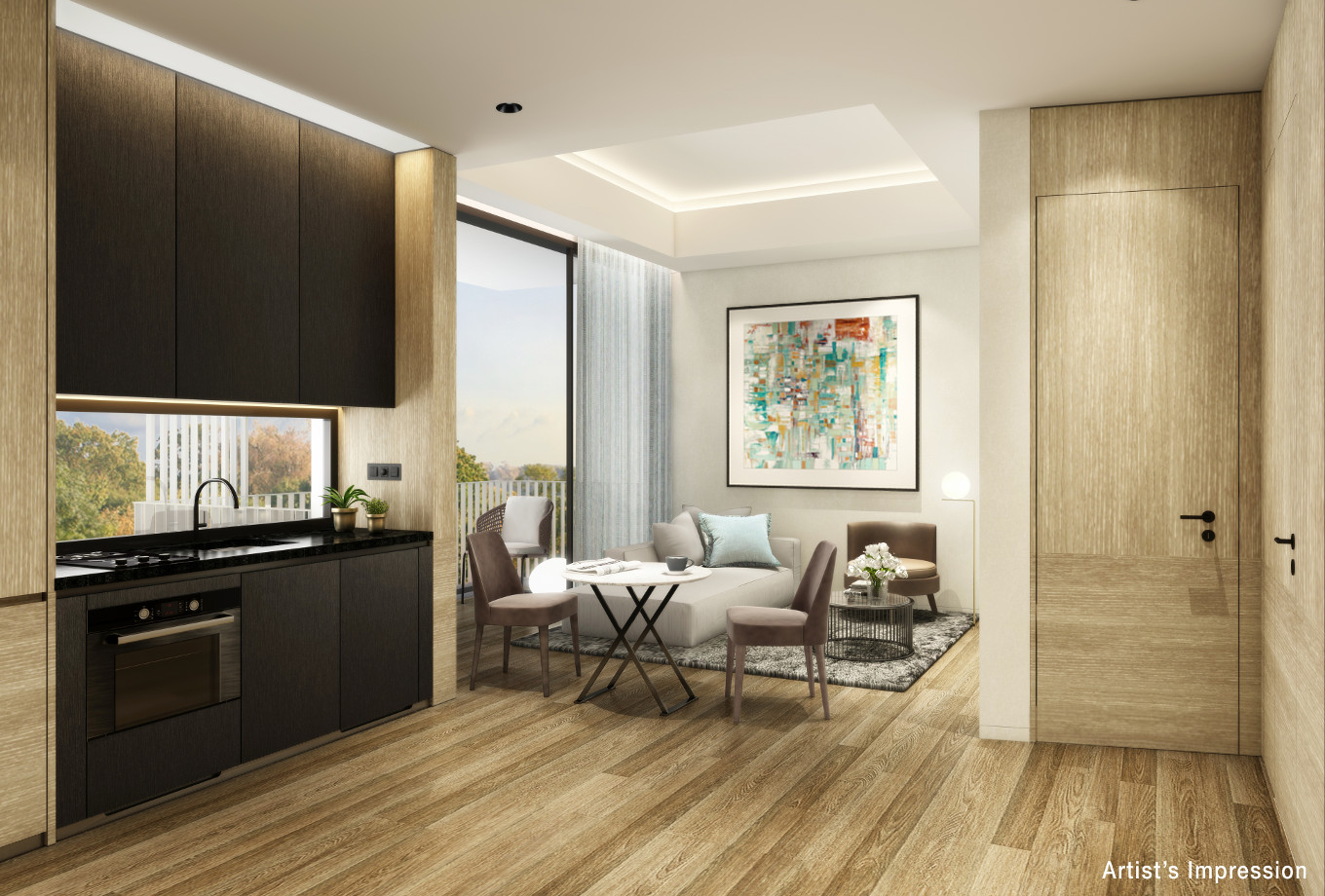 Artist's Impression . 10 Evelyn Showflat . Entrance / Living