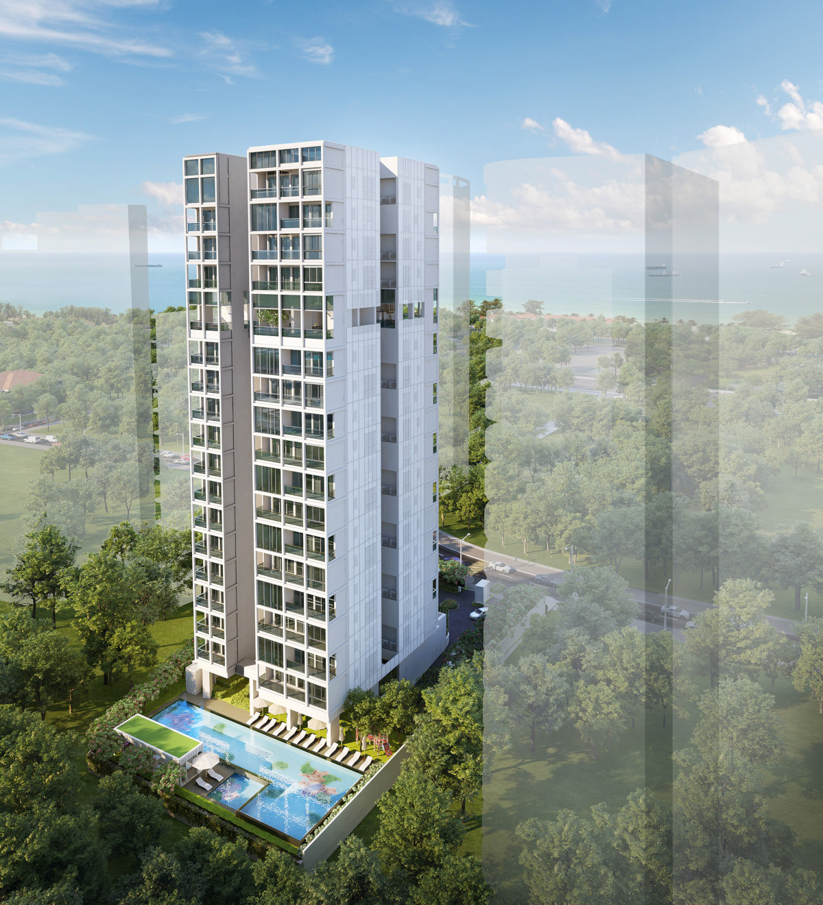 Artist's Impression . Nyon Condo at 12 Amber Road . Aerial View
