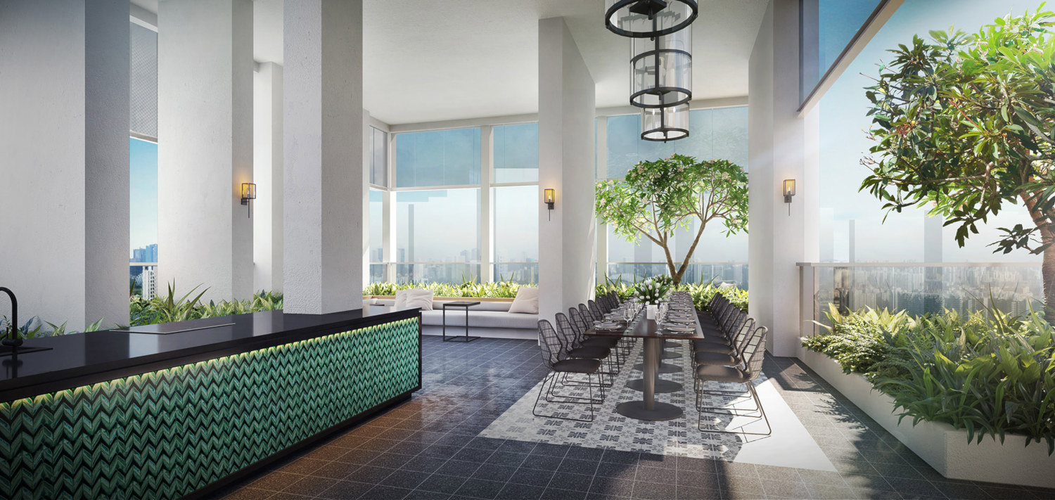 Artist's Impression . Nyon Condo . Sky Dining at Roof Terrace