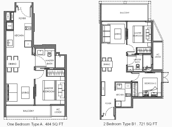 Nyon Floor Plan . 1 Bedroom and 2 Bedroom