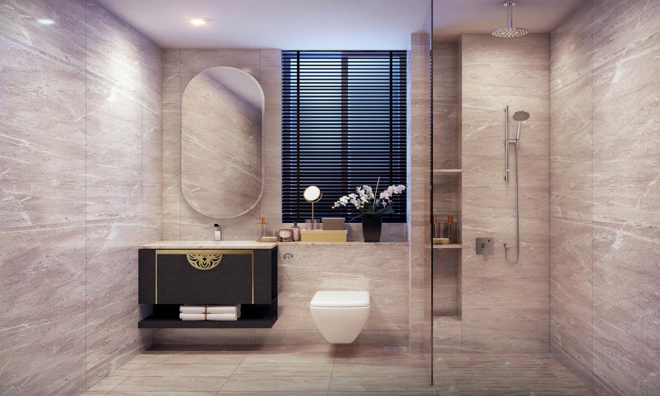 Artist's Impression . Nyon Showflat Master Bathroom