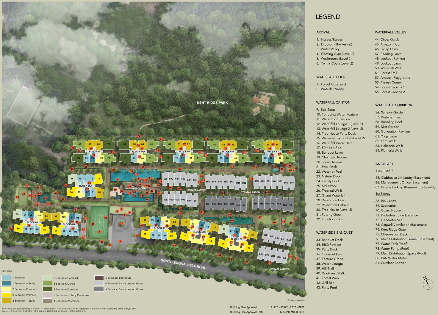 Kent Ridge Hill Residences Site Plan . Unit Types