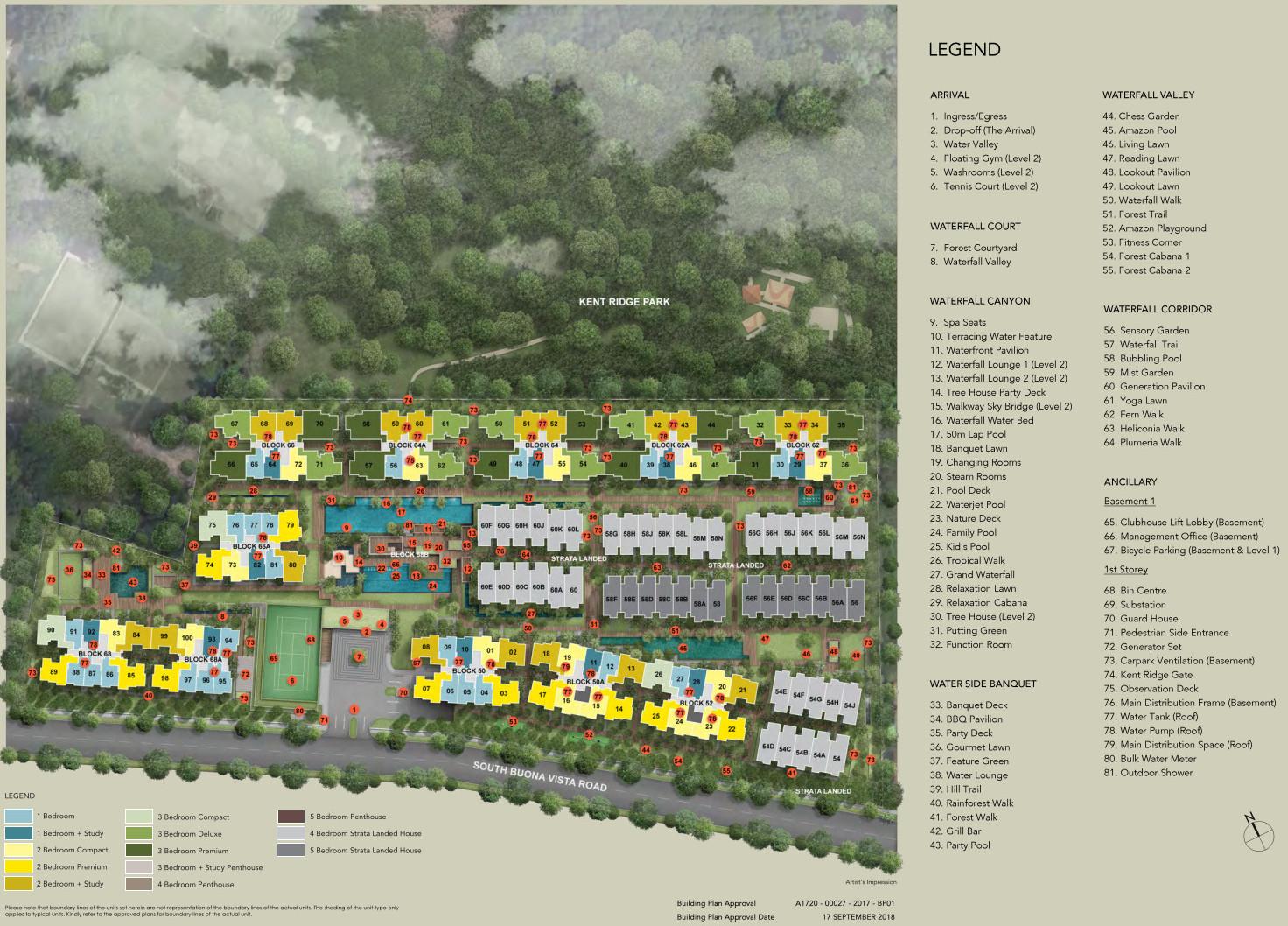 Kent Ridge Hill Residences Site Plan . Unit Types