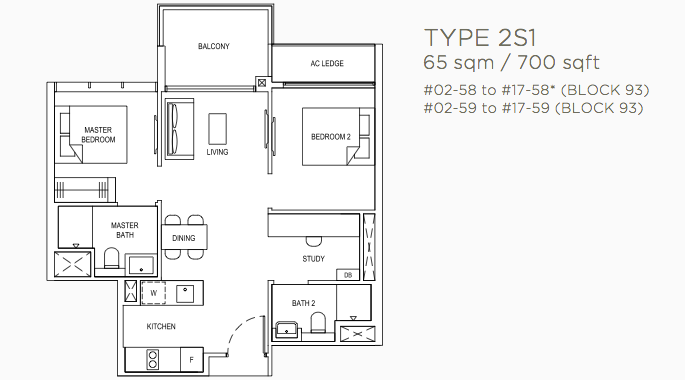 Florence Residence Floor Plans . 2 Bedroom + Study Type 2S1