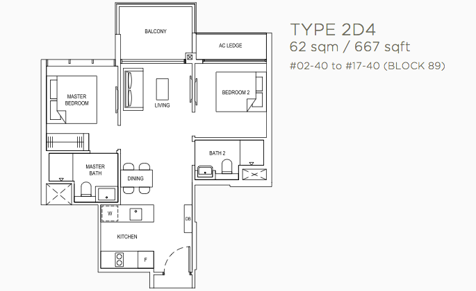 Florence Residences Floor Plans . 2 Bedroom Deluxe Type 2D4