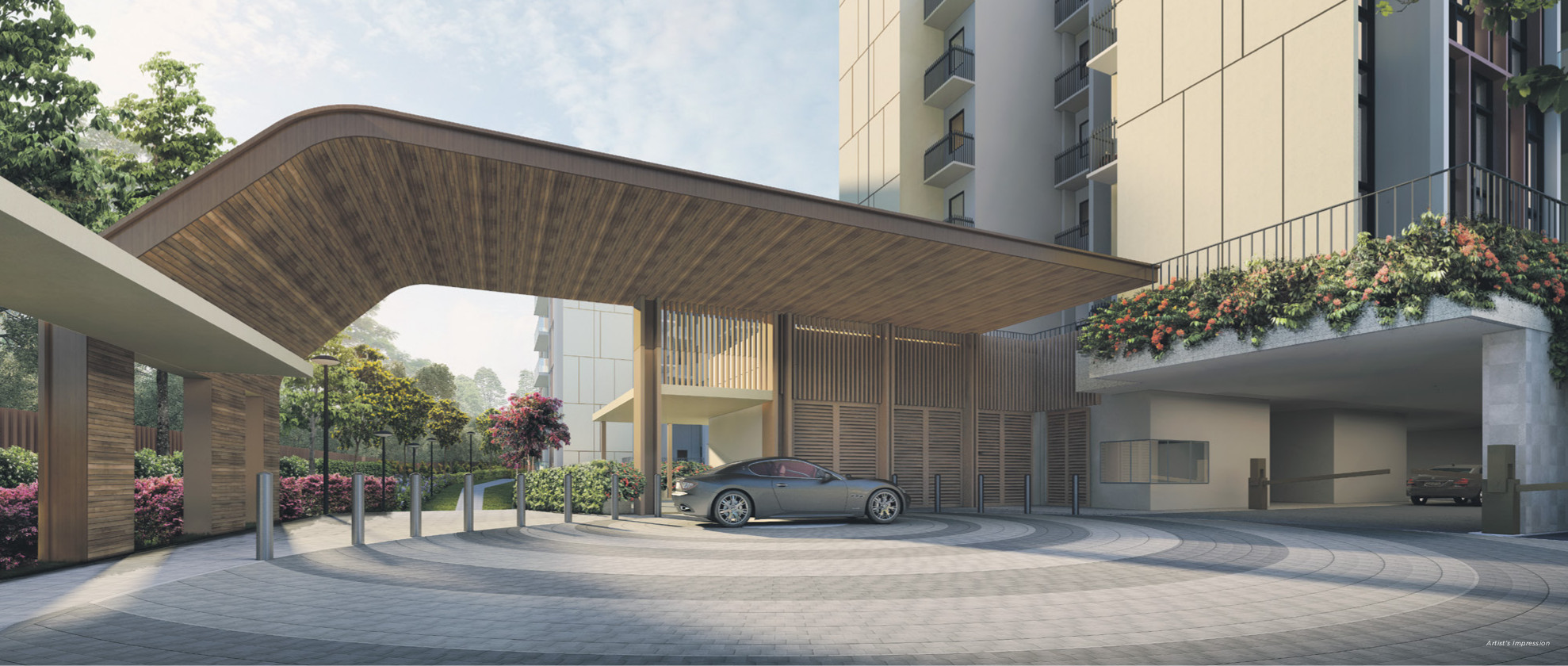 Artist's Impression . The Gazania Condo Entrance Drop Off