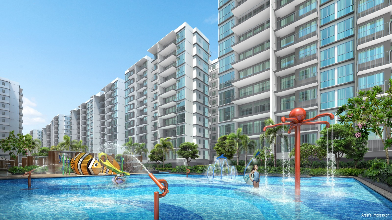 Artist's Impression . Treasure at Tampines Site . Kids Pool