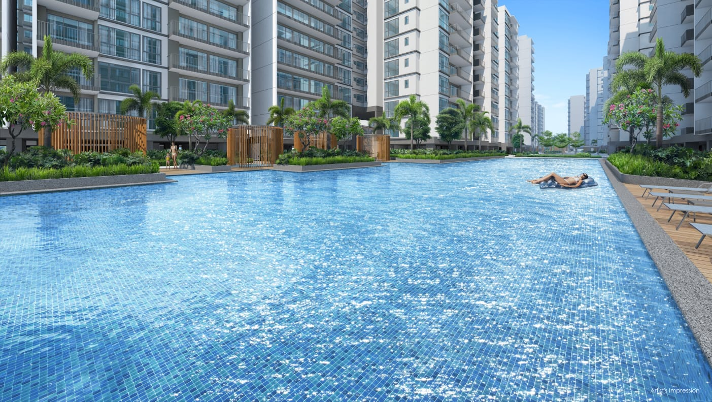 Artist's Impression . Treasure at Tampines Condo Pool