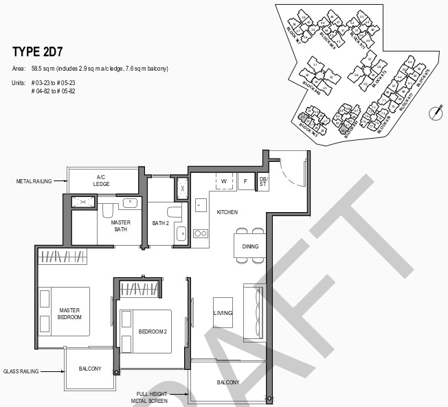Parc Komo Condo Floor Plan . 2 Bedroom Deluxe Type 2D7